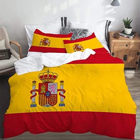 LASINSU Funda De Edredón,Bandera española roja de España Armas Dimensiones precisas Proporciones y Colores Amarillo Oficial,3 Pcs Ropa de Cama Funda Nórdica Sábana Bajera (220 * 240CM): Amazon.es: Hogar