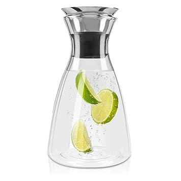 Navaris Jarra de cristal de 1L para agua - Botella de vidrio con tapa - Jarra