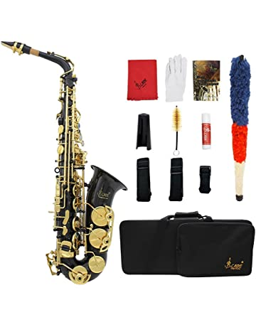 ammoon LADE Eb E-Flat Alto Saxophone Brass Engraved Sax Abalone Shell Buttons with Case
