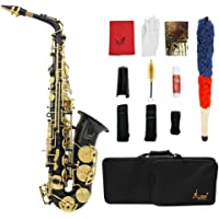 LADE Saxofón Eb E-Flat Alto Latón Grabado Botones Shell del Olmo Instrumento de Viento con Estuche Guantes Paño de…