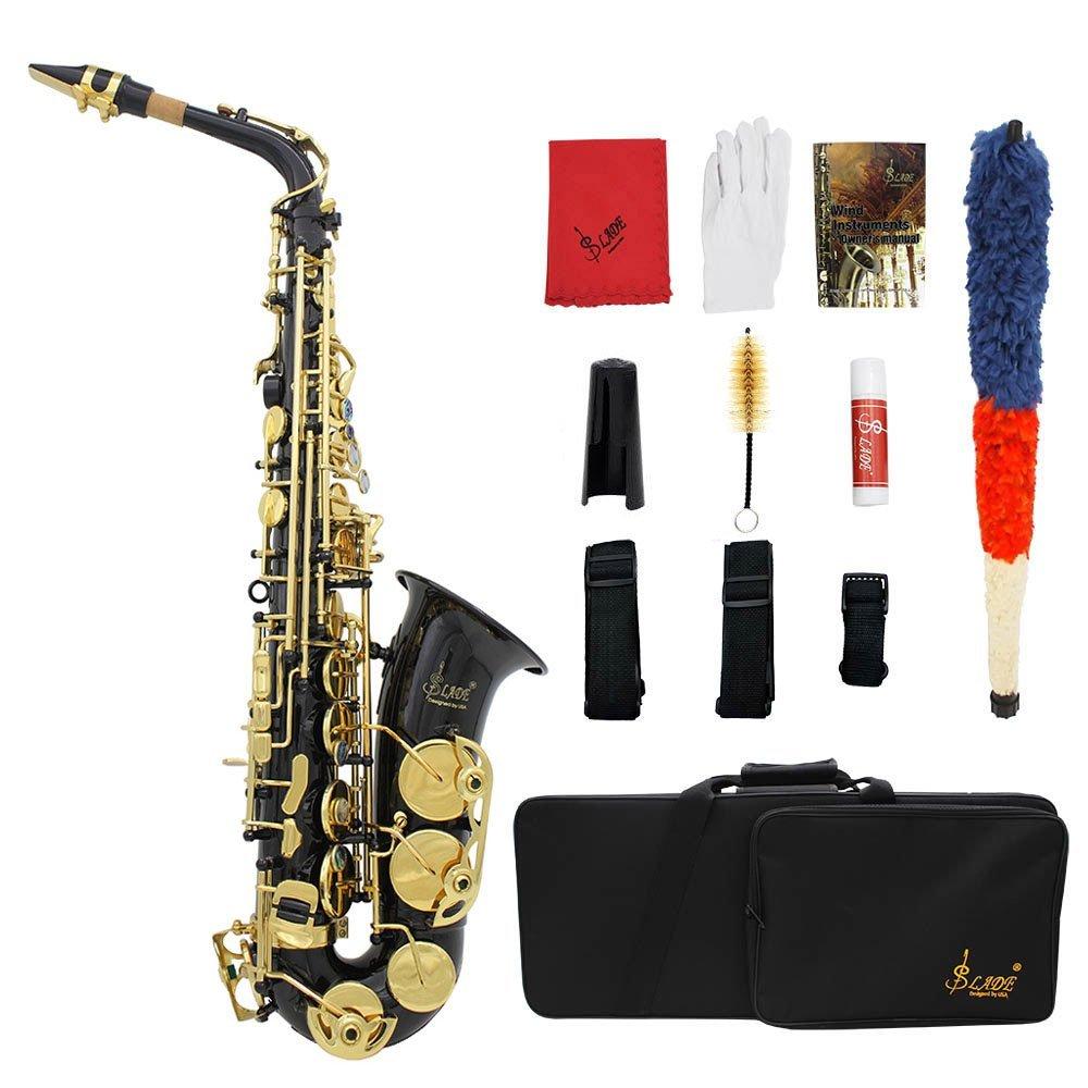 Saxofón Eb E-Flat Alto Latón Grabado Botones Shell del Olmo