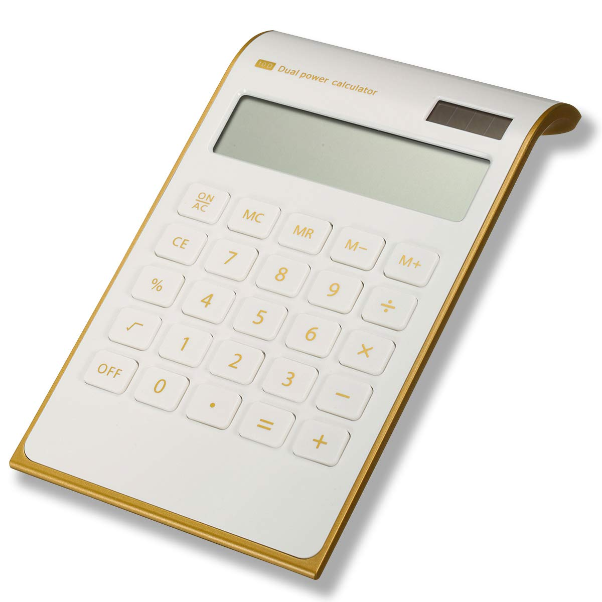 Caveen Calculator Ultra Thin Solar Power Calculator for Home Office Desktop Calculator Tilted LCD Display Business Calculator (Basic, White)