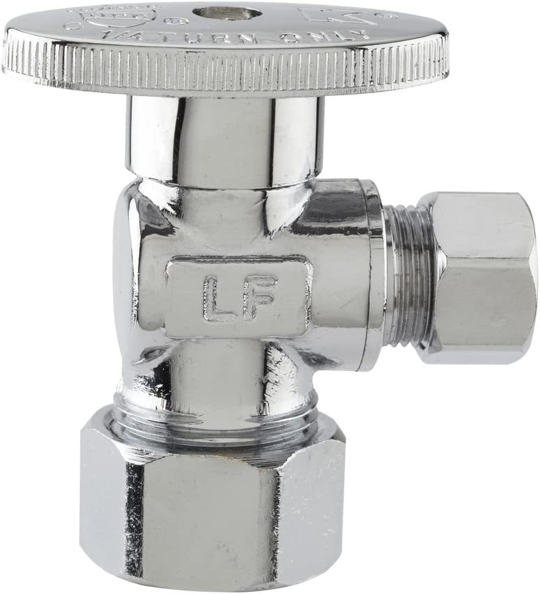 """Plumb Pak PP61PCLF 1/4 Turn Angle Shut-Off Valve, 1/2 X 3/8 In, Nominal Compression X Od, Body, Chrome Plated, 1/2"""" x 3/8"""""""