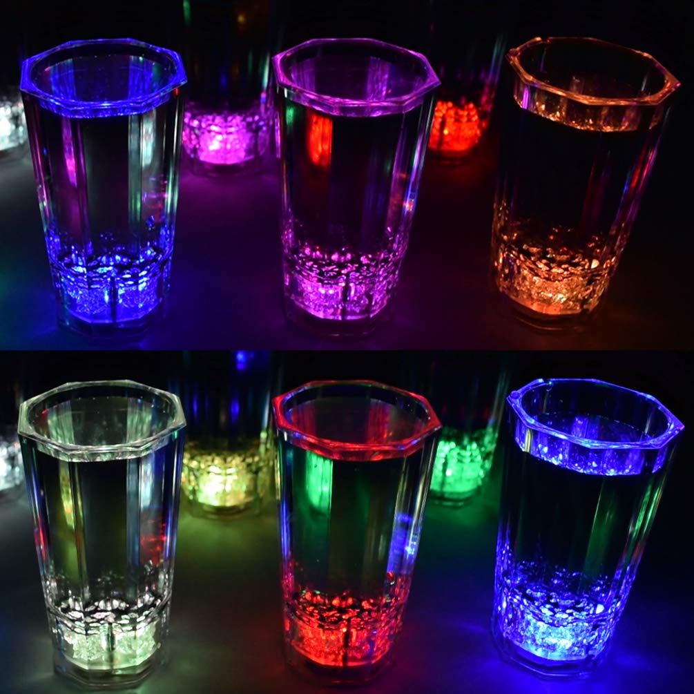 GlowCity LED Light-Up Shot Glasses - Glow-in-the-Dark Liquid Activated Party Glasses - Flash, Scroll and Fade, Multiple Color Set of 12, Batteries Included