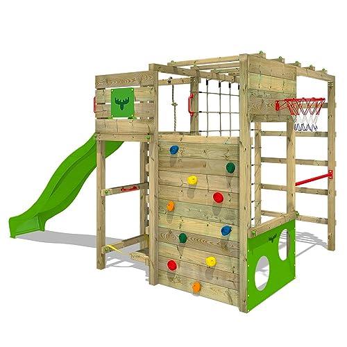 FATMOOSE Portique d'escalade FitFrame Fresh XXL Aire de jeux pour jardin avec toboggan, planche de surf, échelle d´escalade et filet à grimper