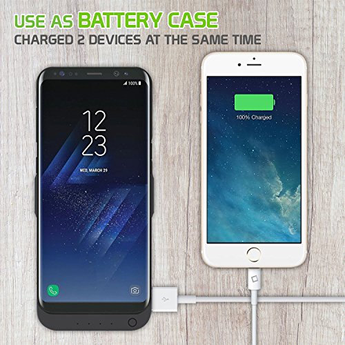 Cellet 6500mAh Rechargeable External strength circumstance for Samsung Galaxy S8 Plus throughout twin demand Compatibility Extra USB Port to demand a second device Iphone7 samsung galaxy S7 Nokia8 Google Pixel Battery Charger Cases