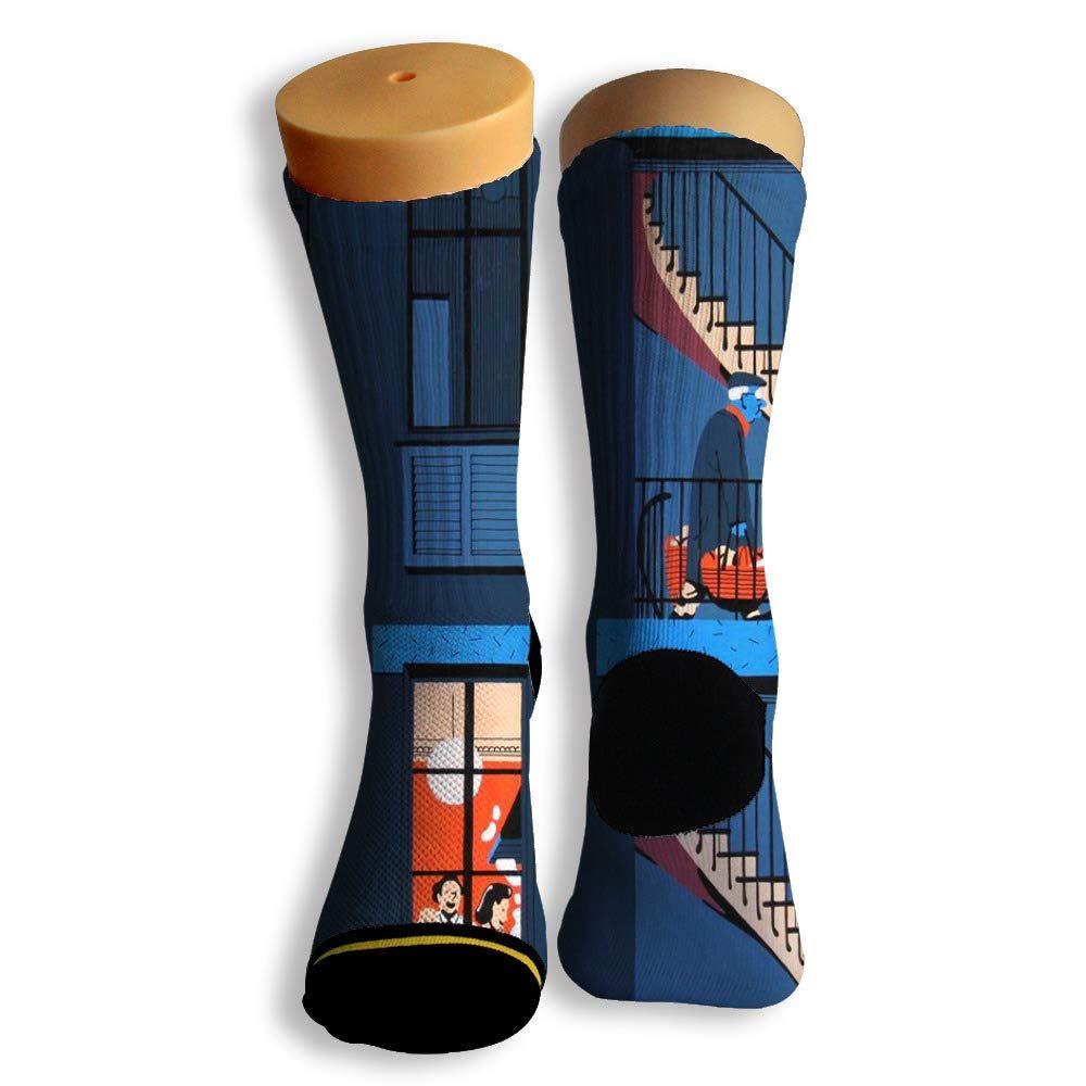 Basketball Soccer Baseball Socks by Potooy Quiet Night 3D Print Cushion Athletic Crew Socks for Men Women