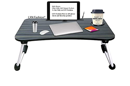 LXN® table for home Foldable Wooden For Makeup Bed (Black)