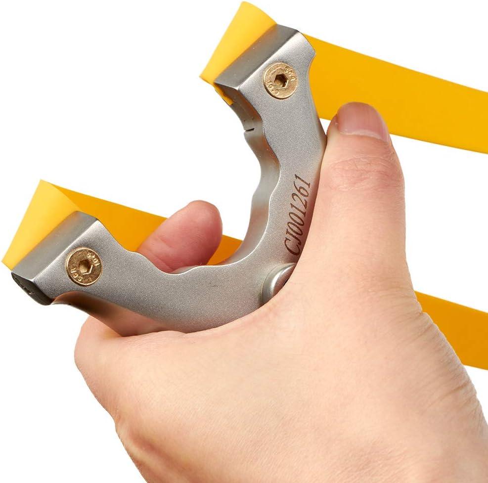 Faltbarer Slingshot Catapult Edelstahl mit 2x Gummibändern für Jagdschießspiele