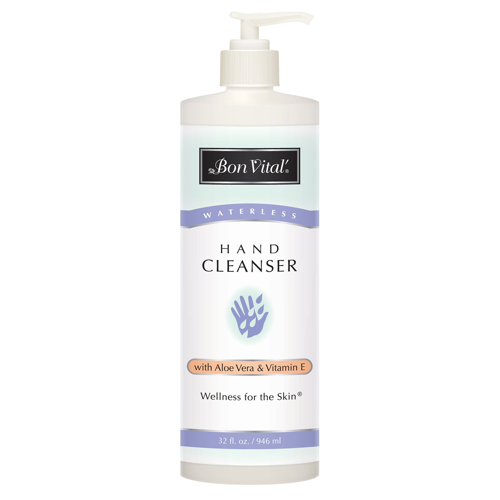Bon Vital' Hand Cleanser, Waterless Hand Soap, Easy Way for Massage Therapists to Wash Hands Between Clients, Leaves Hands Smooth and Soft After with No Sticky Residue, 32 Ounce Bottle