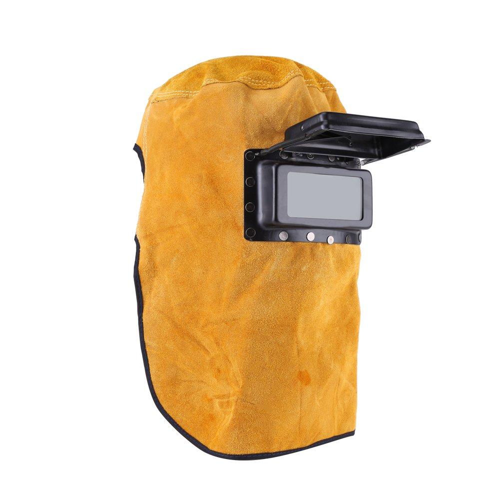 Máscara de Soldadura Soldadora de Cuero Casco Soldadora Durable Buena Calidad Resistente al Calor Máscara de Protección Transpirable con Lente