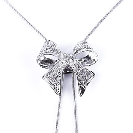L_shop Boho Collar de Corbata con Lazo de Cristal, Cadena Larga ...