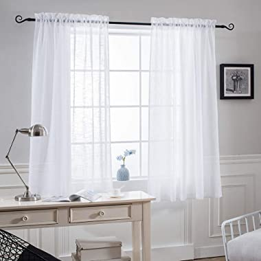 NICETOWN Faux Linen Sheer 63 inches Curtains - Rod Pocket Bedroom Window Panels Privacy Translucent Semi Voile Sheer Drapes for Kids Room (W52 x L63, White, 2 Pieces)