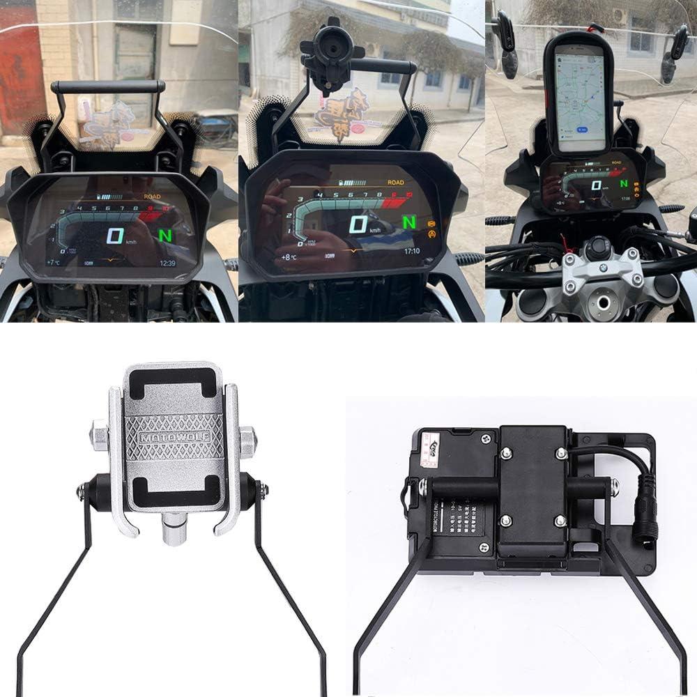 Carrfan Sostituzione del Supporto GPS del Telefono Cellulare del Supporto della Barra Anteriore della Staffa di Navigazione di GPS del Motociclo per Kawasaki Versys X300 X-300 2017-2019