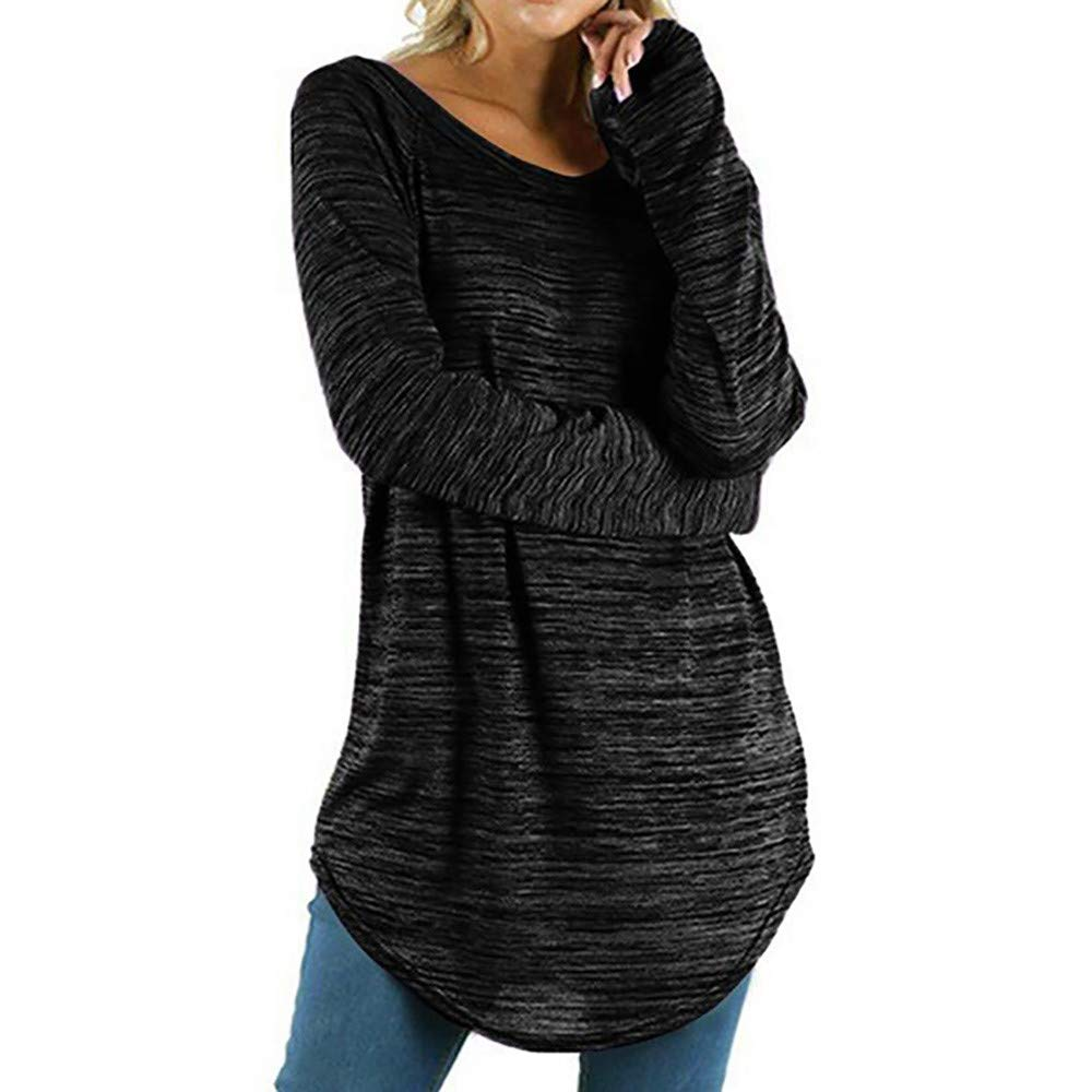 LUCKDE Longsweatshirt Damen Longpullover mit Rundhals/Oversize Pullover Sweatshirts Kapuzenpulli Longbluse Strandtunika Strickjacke Damenblusen Sportlich Top