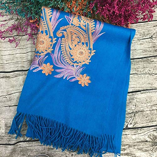 (WJL Vintage Ethnic Embroidery Wool Female Warm Long Scarf Scarves Autumn and Winter Outdoor Multi-Functional Fgreyion Trend Wild Warm Shawl Scarf Gift, Lake Blue)
