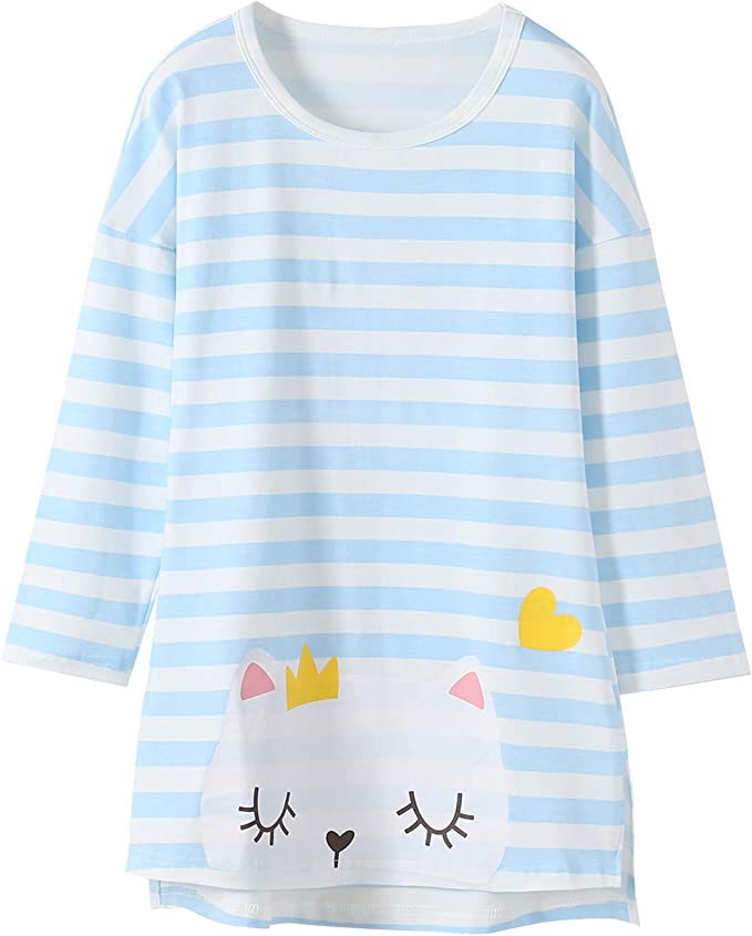 Nightgowns for Girls Cotton Cat Pajamas 3//4 Sleeve Sleepwear Knee-Length