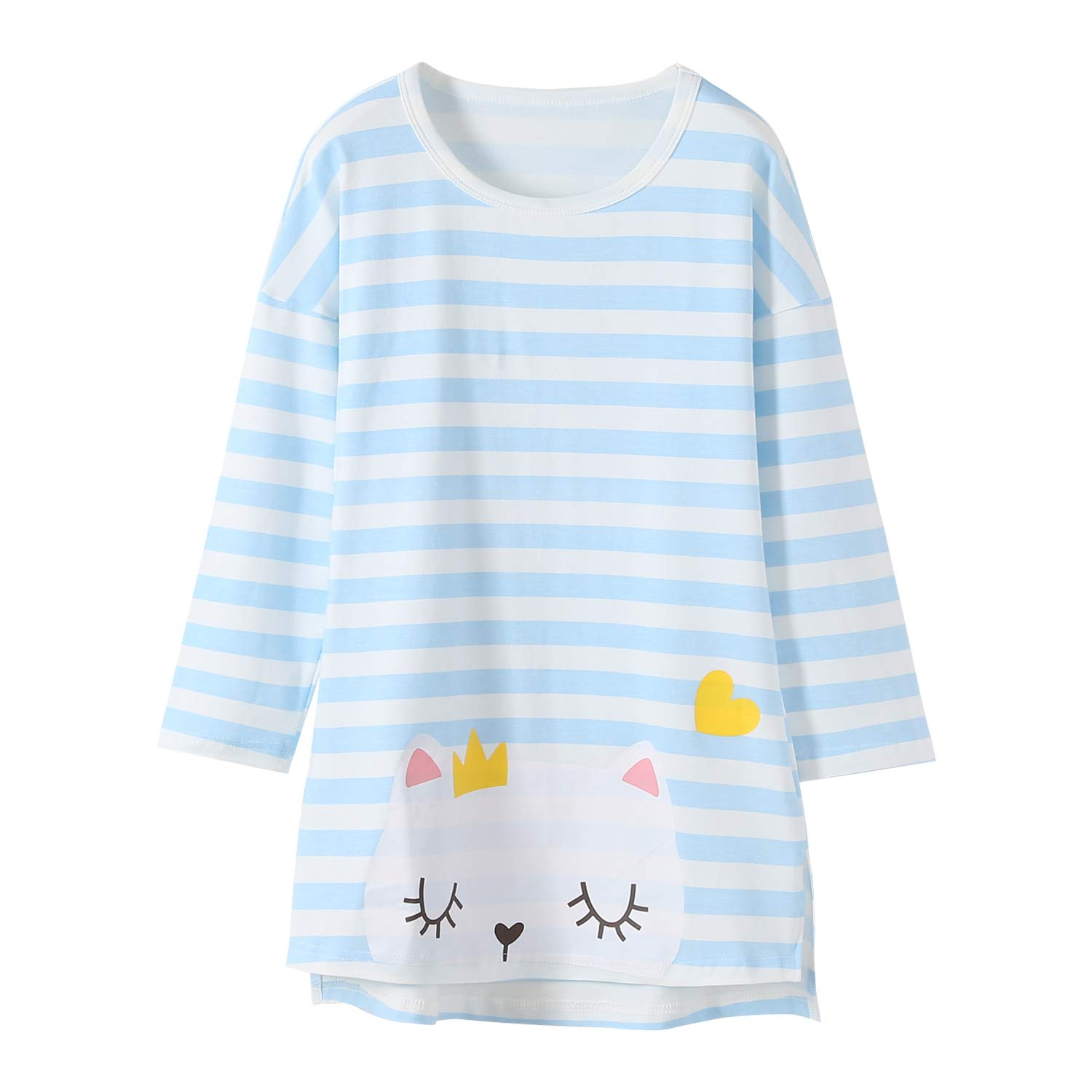 Allmeingeld Girls' Kitty Nighties Cat Nightgowns Cotton Sleepwear for 3-10 Years