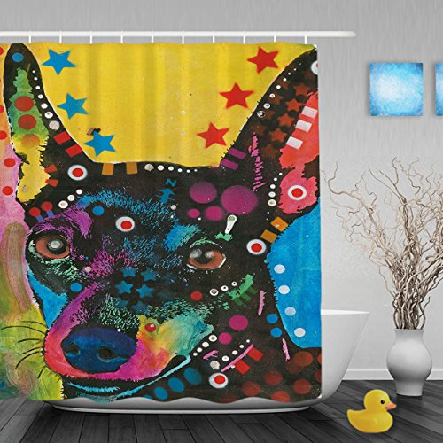 CafeTime Lovely Miniature Pinscher Shower Curtains Colorful Art Dog Bathroom Shower Curtains Waterproof Mildew Resistant Fabric Shower Curtain Liner For Bathroom 72x72Inch (Miniature Pinscher Accessories)