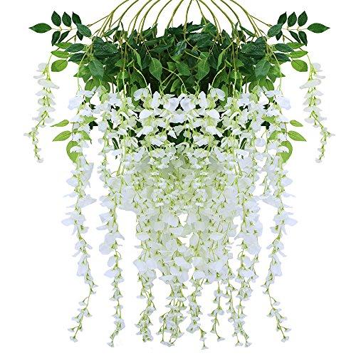 Supla 12 Piece Artificial White Faux Wisteria Vine Rattan Silk Hanging String Flower Arrangements Bridal Home DIY Floor Garden Office Wedding Decor