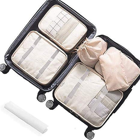 7 Stück Gepäck Verpackung Veranstalter Verpackungs Würfel Set für Reisen (Rosa)