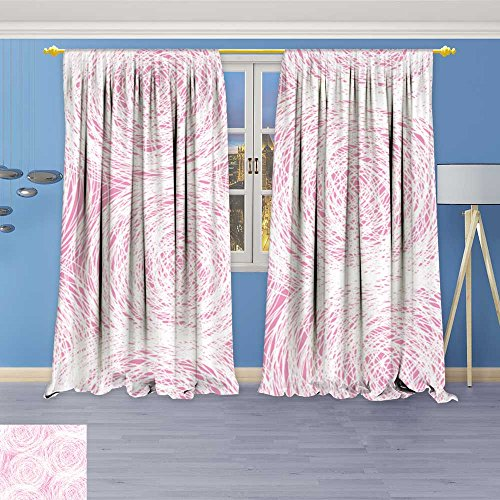 (SOCOMIMI Kids Room Planets Curtains (4472 Panels),Pink White Scribble Thermal Insulated Blackout Curtains with Star Prints, 72W x 108L inch)