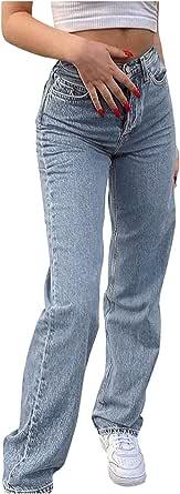 BIBOKAOKE Baggy Jeans voor dames, hoge taille, rechte jeans, kleurverloop, vrije tijd, losse rechte broek, bootcut, jeans, gladde jeans, vintage broek met wijde pijpen
