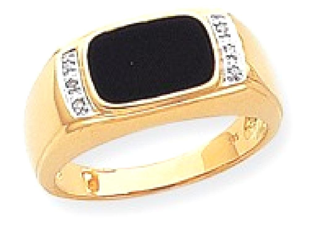 ICE CARATS 14k Yellow Gold Black Onyx A Diamond Mens Band Ring Size 10.00 Man Fine Jewelry Dad Mens Gift Set