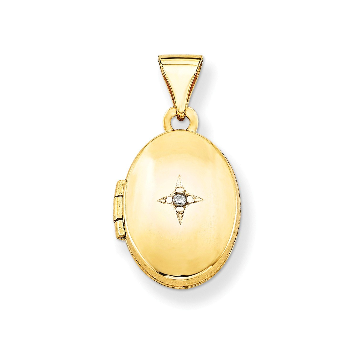 Roy Rose Jewelry 14K Yellow Gold Diamond Locket 20x13mm by Roy Rose Jewelry