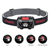 Winzwon Head Torch Led Headlamp Headlight Super Bright Helmet Light 4 Brightness Modes Flashlight with Adjustable Strap for Running Camping Hiking Reading 3 AAA batteries Incl