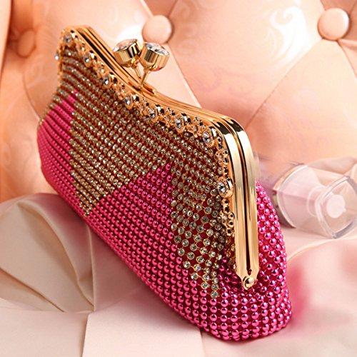Monedero Para Mujer De La Perla De Faux En Cascada Grano Del Rhinestone Tarde Embrague Moda Gold