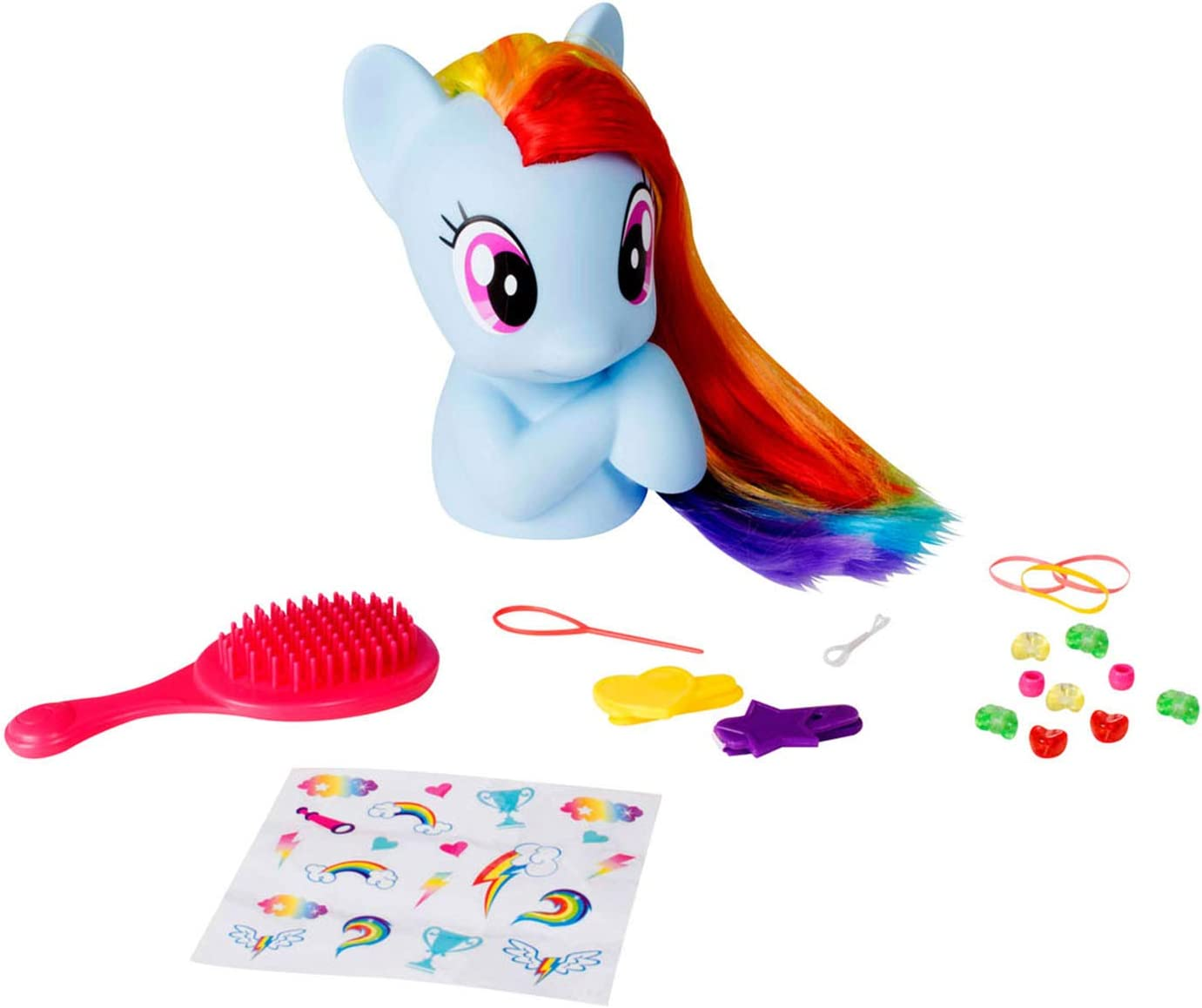 My Little Pony Styling Head Hairstyle Head Rainbow Dash With Hair Brush Stickers And Accessories Amazon De Spielzeug