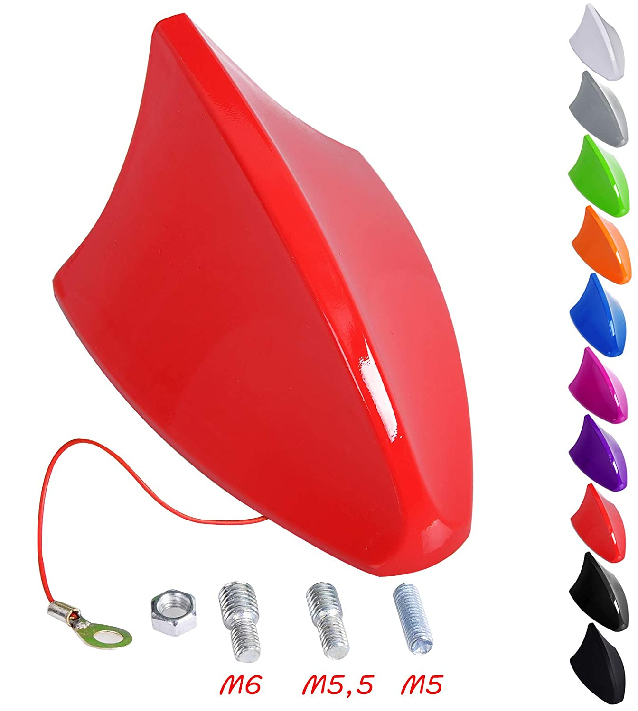 11 x 7,5 x 6,7cm Blanco SCA0054 eSituro Coche Techo Universal Antena Aleta de Tibur/ón Antena Techo para Coche AM//FM Radio Plastico Rosca M5//M5,5//M6