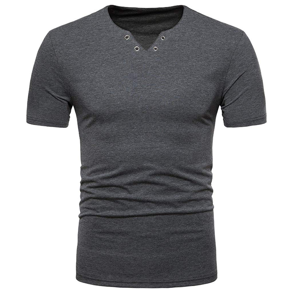 Forthery Men Casual Slim Fit Short Sleeve Henley T-Shirts V Neck Summer Tee Tops(Dark Gray,US Size XS = Tag S)