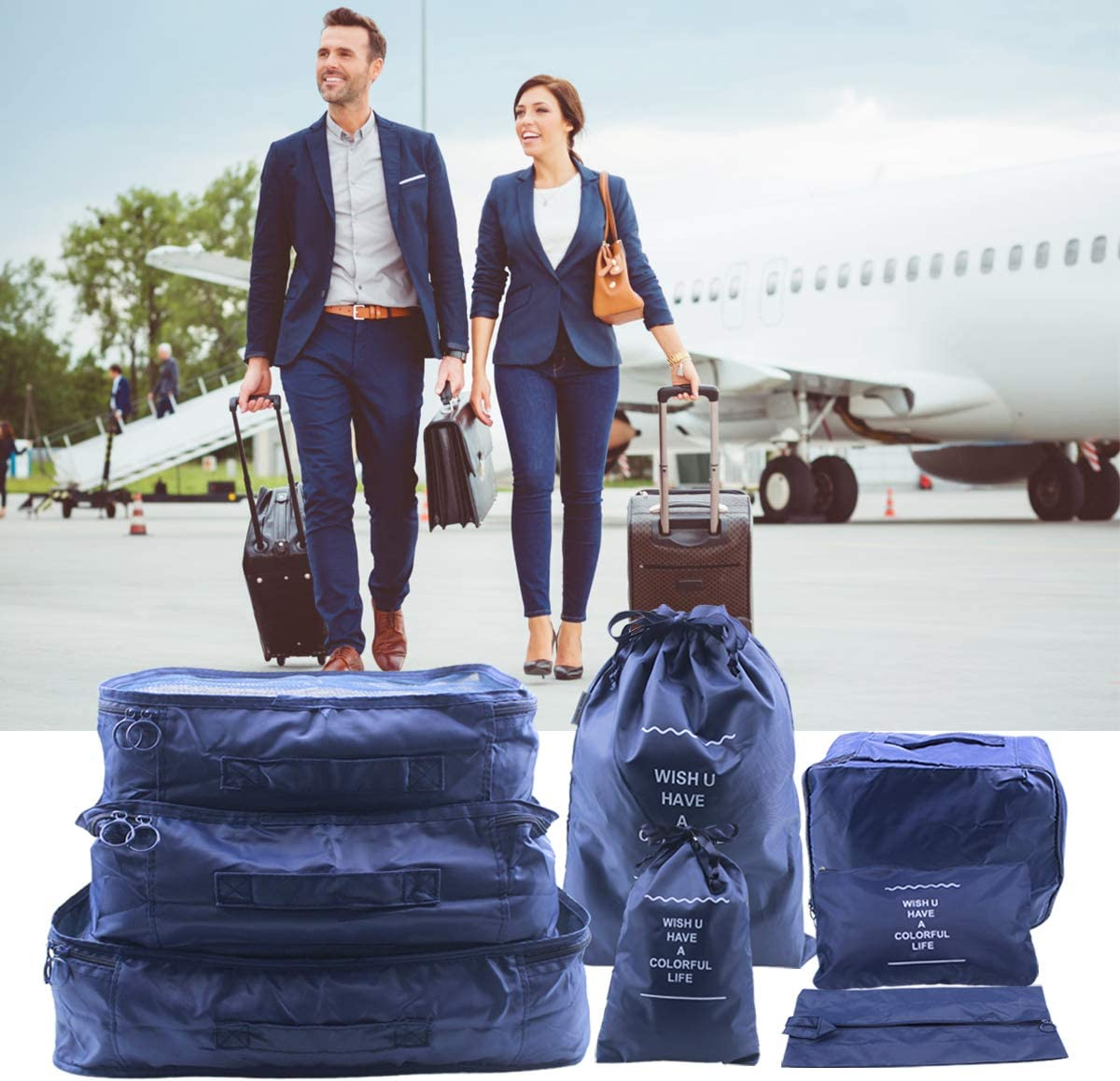 8pcs Cubes demballage 8 Tailles Organisateur de Voyage Emballage Sacs de Stockage de Bagages Sacs de Compression avec Boucle r/églable pour Chaussures v/êtements Outils de Maquillage Bleu