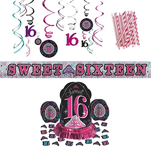 (Sweet Sixteen Birthday Party Decorations Party Supplies Pack | Paper Straws, Sweet 16 Table Decorating Kit With 2 Centerpieces and Confetti, Sweet 16 Hanging Swirls, and Sweet Sixteen Banner)