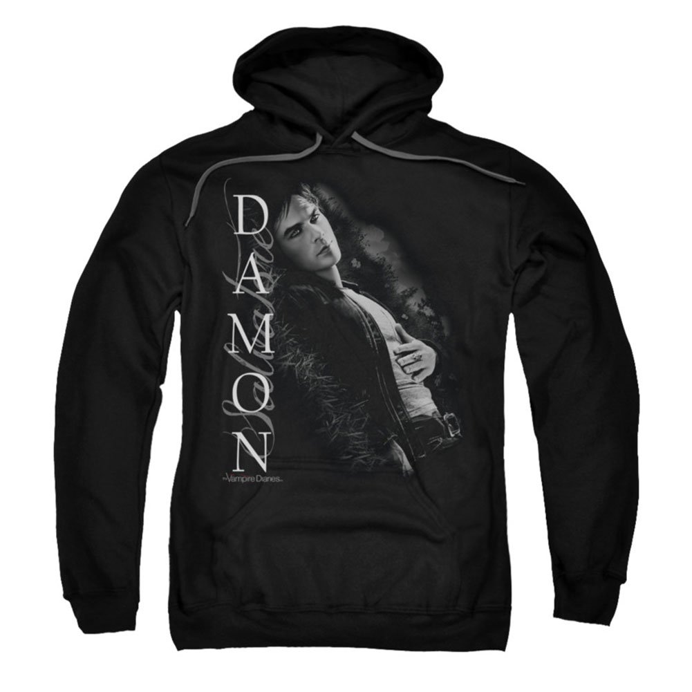 2Bhip Vampire Diaries Supernatural Drama TV Show Damon Salvatore Adult PullOver Hoodie Trevco WBT452-AFTH-1