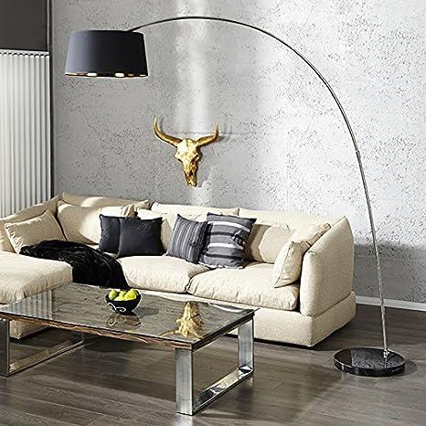 Living art24de Piantana Lampada ad Arco Stratos 200 cm NERO ORO ...