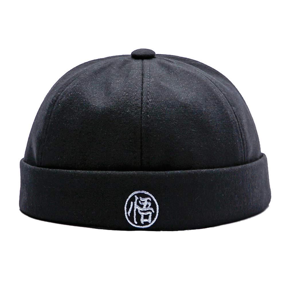 Mens Vintage Hip Hop Beanie Hat Men Brimless Skull Cap Hook/&Loop Rolled Cap Warm Winter Hats