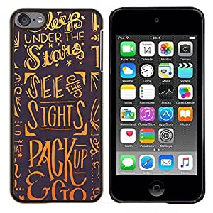 TECHCASE---Cubierta de la caja de protección para la piel dura ** Apple iPod Touch 6 6th Touch6 ** --Sleep Estrellas Dreams Slogan Cita Arte