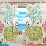 """SUABO 2PCS Ultra Luxurious Window Gauze Curtains, Polyester Washable Sheer Window Curtain Panels for Bedroom Living Room 55""""W x 78""""L - (Set of 2 Panels), Floral Pattern"""