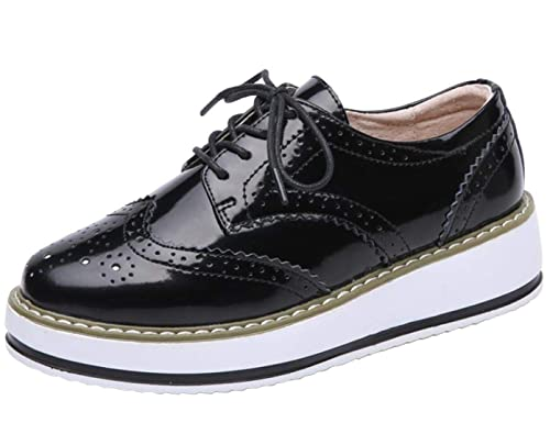 71dcfeec2b253 DADAWEN Women's Lace-Up Chunky Cleated Platform Wingtips Oxford Shoes