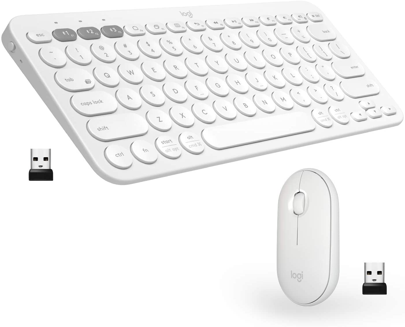 Logitech K380 + M350 Wireless Keyboard and Mouse Combo - Slim Portable Design, Quiet clicks, Long Battery Life, Bluetooth connectivity, Multi Device with Easy-Switch for Mac, Chrome OS, Windows-White