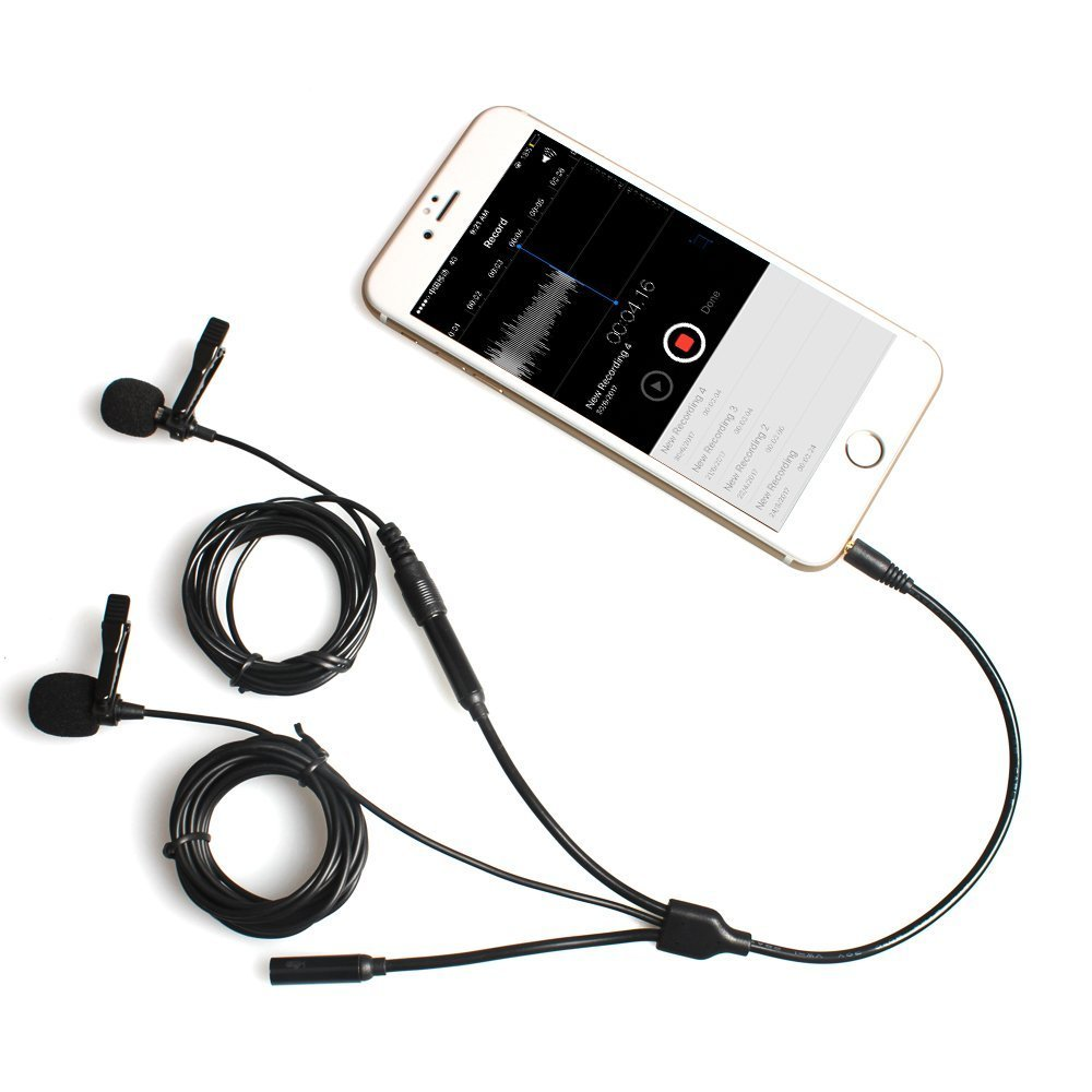 Lavalier Microphone, Dual Lav Lapel Mics MAONO with Headphone Output Jack Clip-on Handsfree Interview Condenser Omnidirectional Podcast Mic for iPhone, Samsung, Android, Smartphones, iPad, Tablets by MAONO