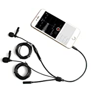 Lavalier Microphone, MAONO AU303 Dual Clip-on Handsfree Omnidirectional Condenser Interview Lapel Mic with Headphone Monitoring Output Jack for iPhone, Android, Smartphones, iPad, Tablets