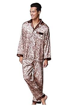 SHIQUNC Logeliy de los Hombres Seda Conjuntos de Pijamas Mangas largas Pantalones Traje de Dos Piezas ...