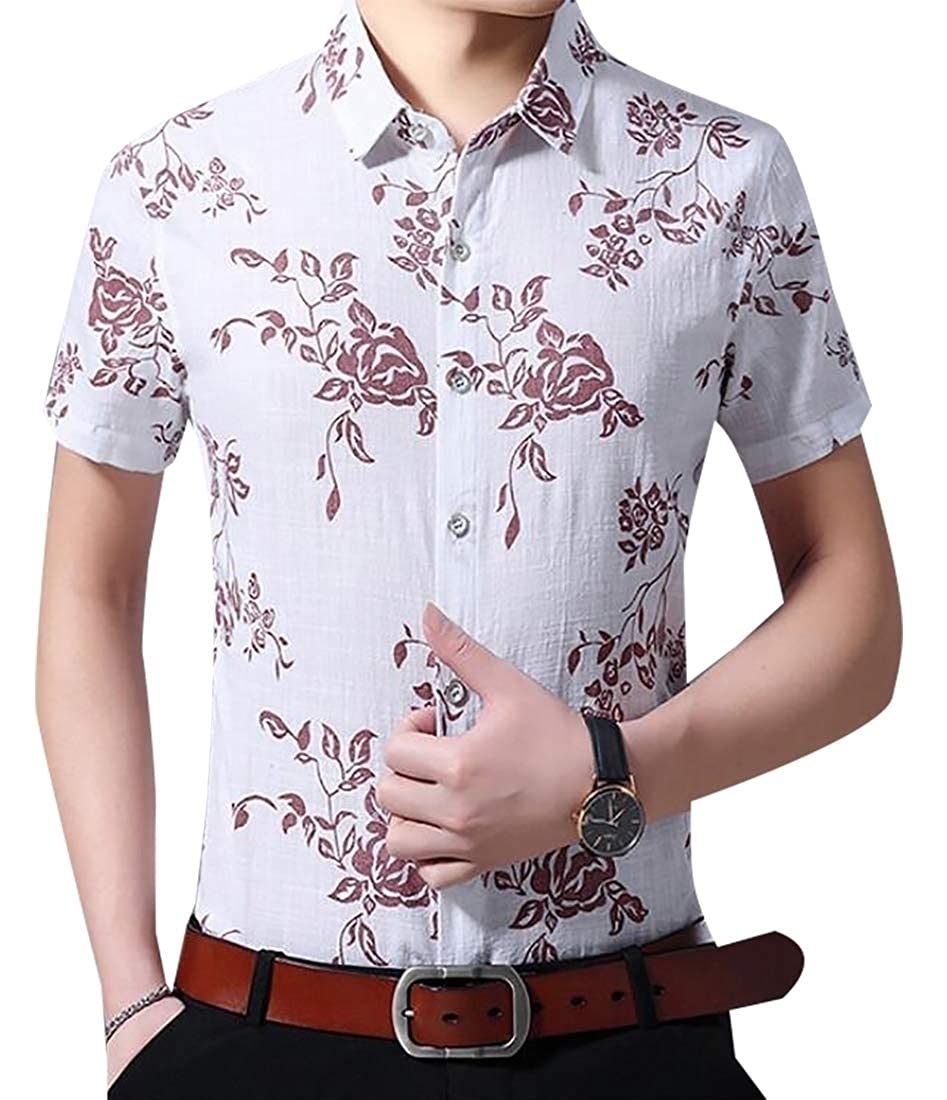 WSPLYSPJY Mens Oversize Short Sleeve Patterns Fashion Breathable Button Down Dress Shirts