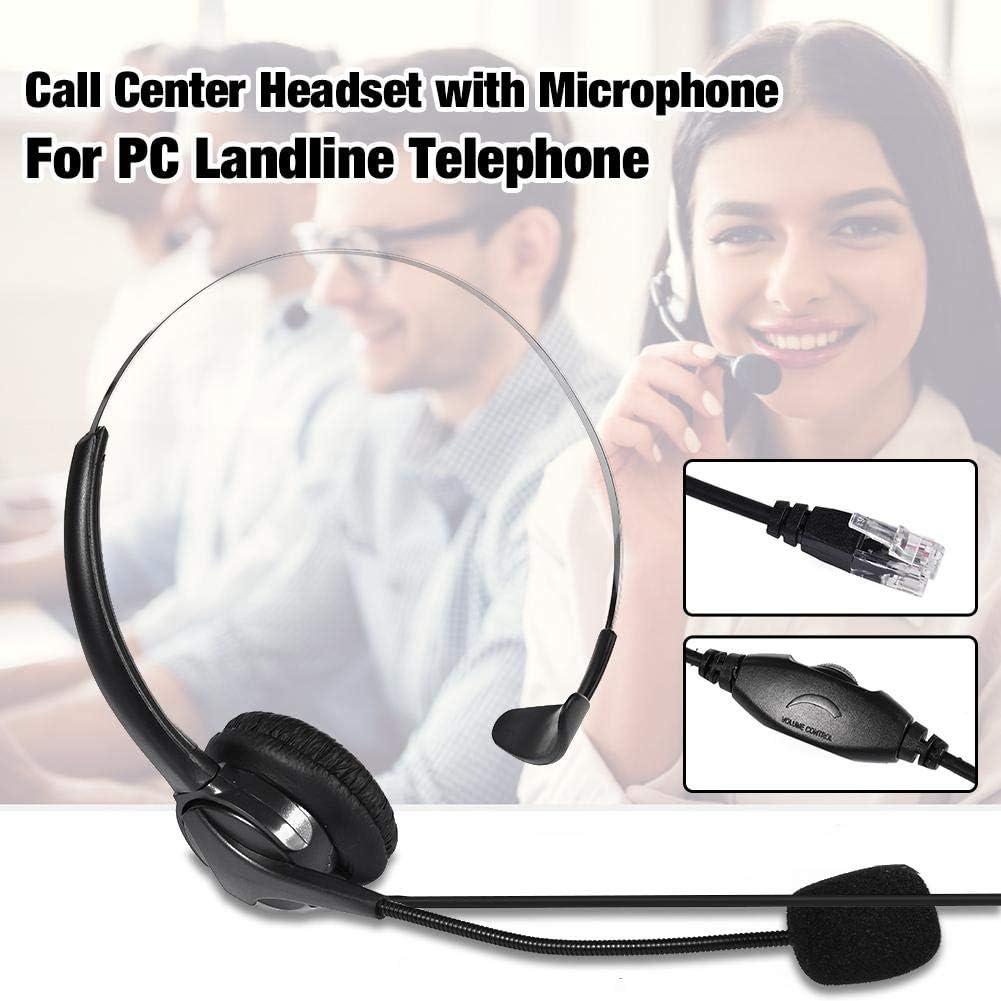 SoftPhone Casque de centre dappels unilat/éral avec microphone antibruit et commandes audio avec fl/èche de 330 degr/és pour PC T/él/éphone fixe pour PC T/él/éphone fixe PC Skype centre dappels