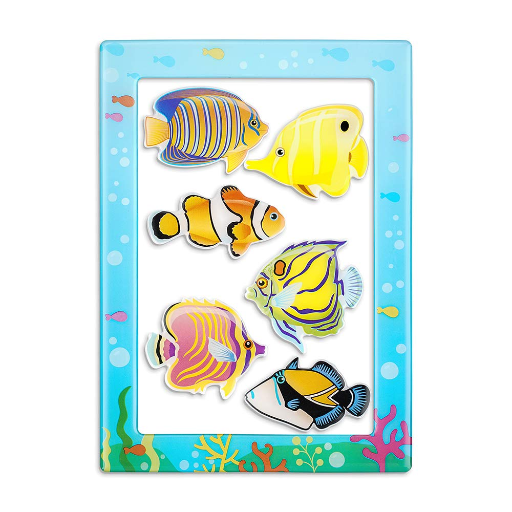 Morcart Tropical Fish Magnets And 4 x 6 Inches Magnetic Photo Frames 2 in 1 Sea Life Fridge Magnet Set Decoration for Refrigerator Lockers Classroom Office,Best Gift Choice (7 PCS)