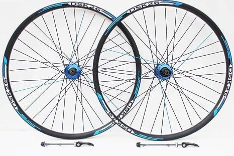 Rueda de 26 pulgadas para bicicleta de montaña, azul, huecos y adhesivos, solo llantas de disco ...